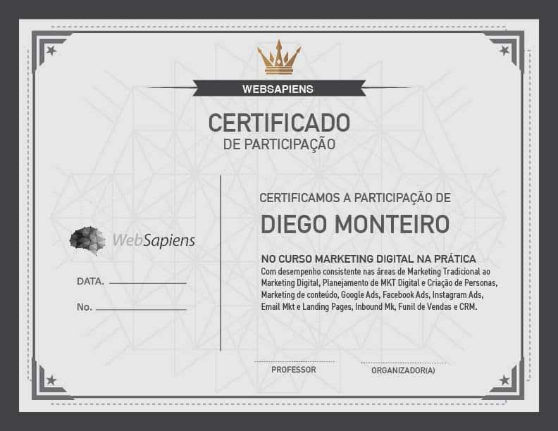 certificado websapiens 1 Curso de Marketing Digital na Prática